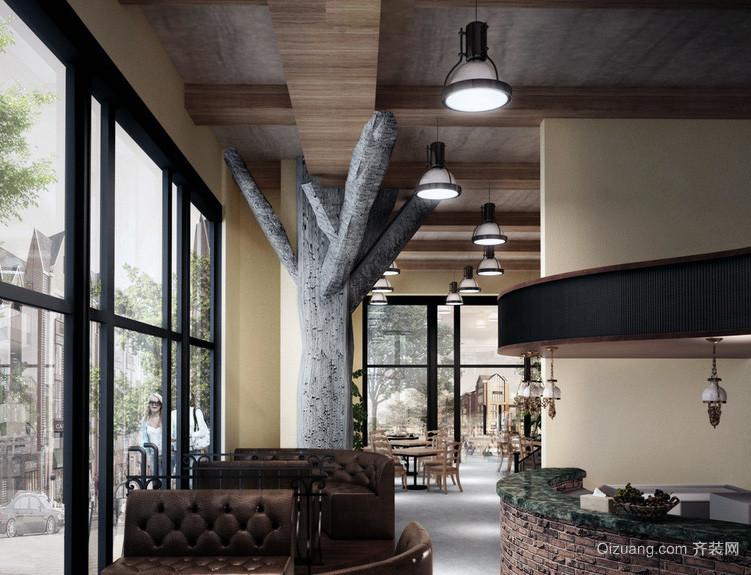 都市时尚咖啡厅吊顶装修效果图