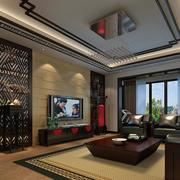 中式客厅吊灯装修飘窗图
