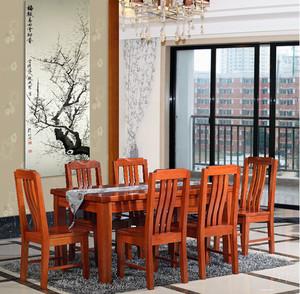 现代大户型餐厅实木餐桌椅装修效果图