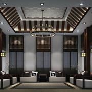 中式客厅吊灯装修整体图