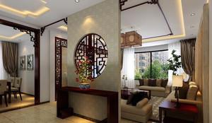 三居室中式风格客厅玄关隔断装修效果图