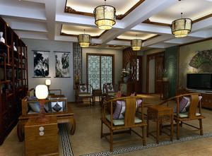 大户型精致中式客厅吊灯装修效果图