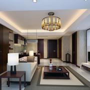 中式客厅吊灯装修背景墙图