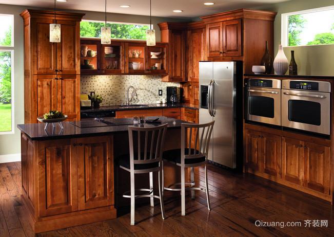 单身公寓精致耐用型实木橱柜效果图