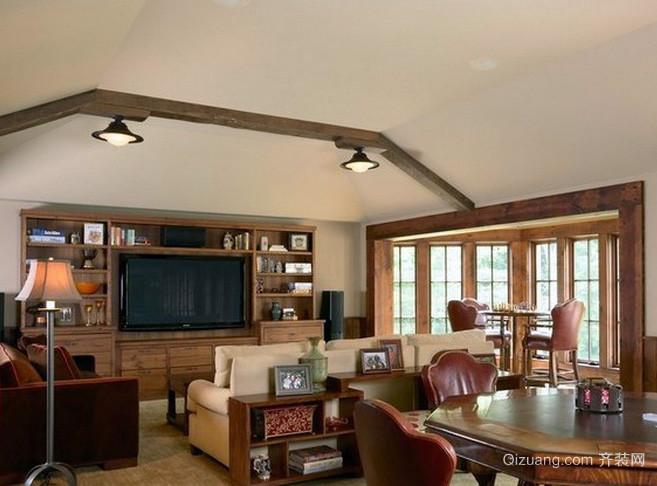 小型别墅欧式榆木材料客厅家具装修效果图