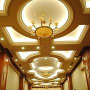 大型别墅走廊圆形吊顶设计