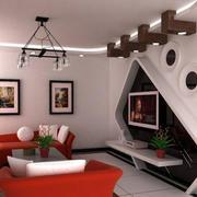 复式楼简约风格电视墙装饰