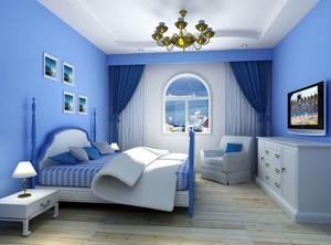 地中海风格蓝色卧室壁纸