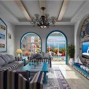 地中海风格客厅装修吊顶图