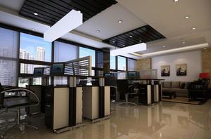 商务大楼自然风格办公室隔断效果图