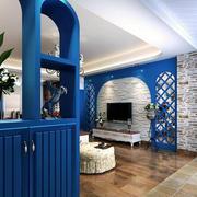 地中海风格客厅装修隔断图