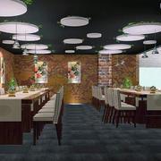 餐厅实木餐桌椅装修整体图
