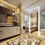 暖色调的卫生间整体设计