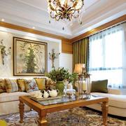 欧式客厅原木家具桌椅效果图