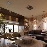 美式混搭风格客厅射灯装饰