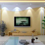 浅黄色现代电视背景墙装饰