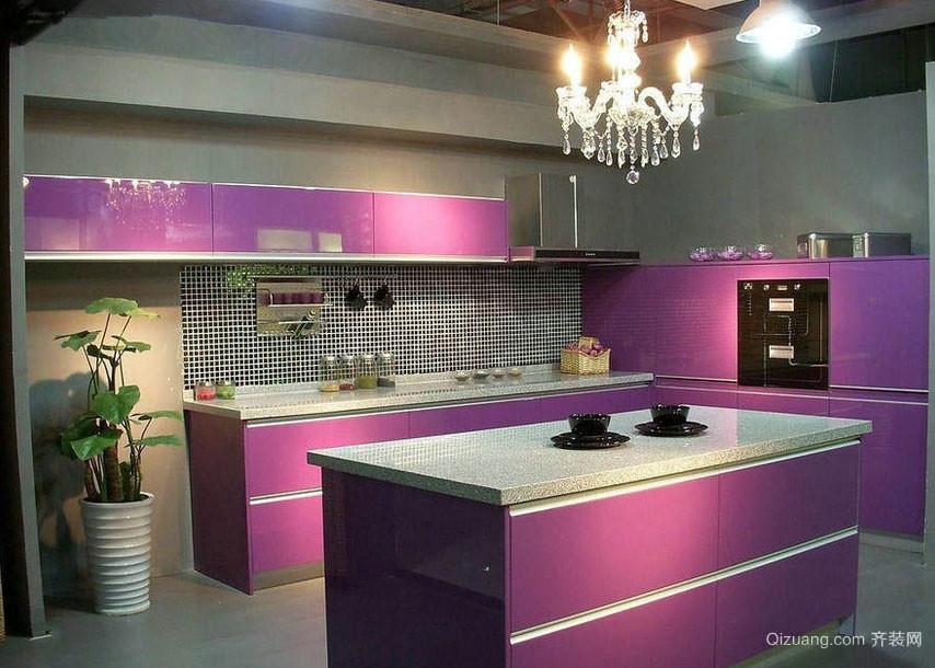 彩色整体厨房不锈钢厨柜装修效果图