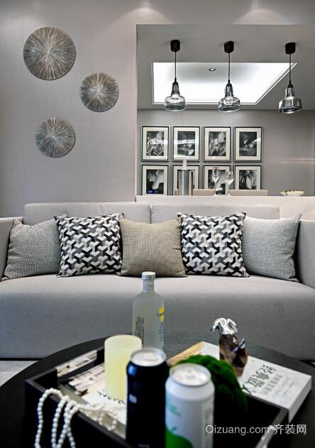 85平米欧式简约公寓内部装修样板间效果图