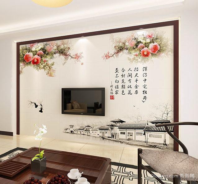 醒目的电视瓷砖背景墙装修图片大全