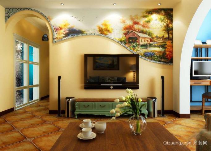 时尚风格电视背景墙设计效果图