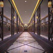 酒店中式风格走廊吊顶效果图