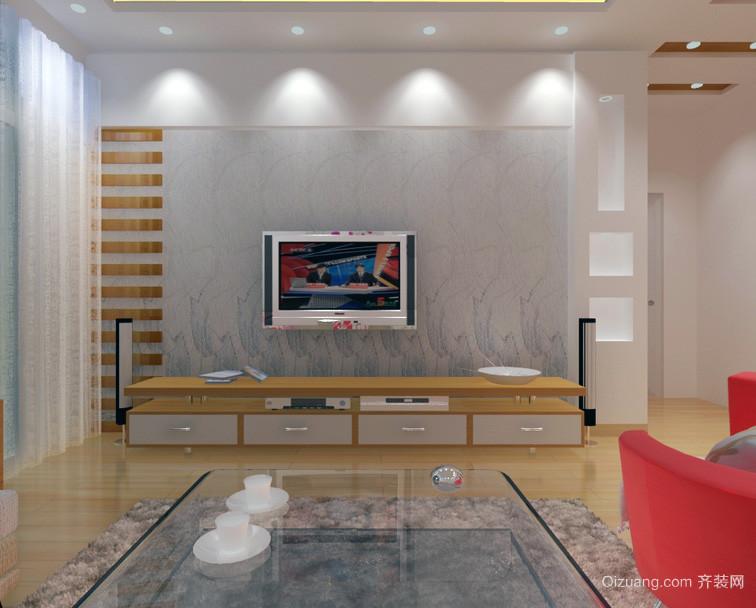现代大户型客厅硅藻泥背景墙装修效果图