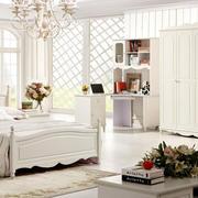 欧式简约风格卧室实木白色衣柜装饰
