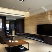 原木色的电视背景墙
