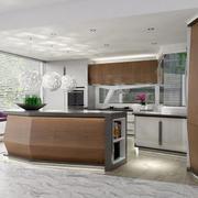 咖啡色厨房不锈钢厨柜