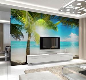 沙滩景观电视背景壁画