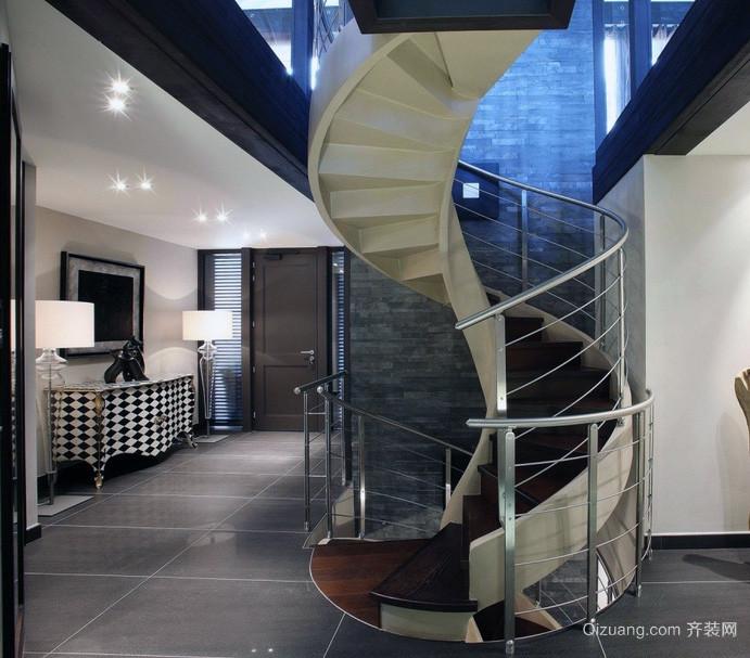 现代大户型旋转楼梯装修效果图