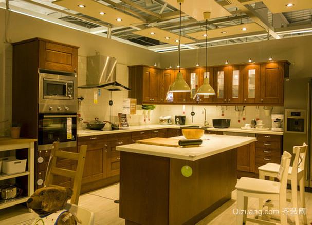 空间适当的美式混搭风格开放式厨房装修