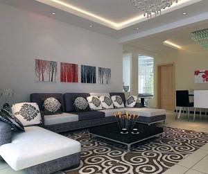 现代大户型客厅实木沙发背景墙装修效果图