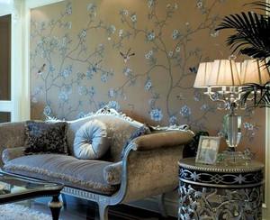 美式经典风格印花沙发背景墙