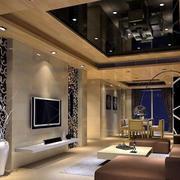 后现代风格三室两厅客厅吊顶