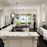 美式简约大理石厨房吧台装修