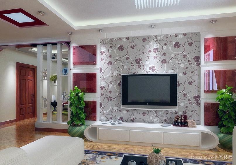 大户型客厅硅藻泥背景墙装修效果图