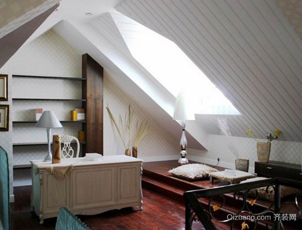 美式复式楼 斜顶 吊顶装修效果图设计