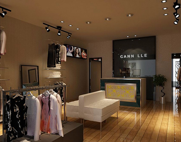 欧式简约风格服装店装修效果图装饰