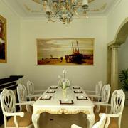 欧式田园风格餐厅石制桌椅