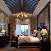美式斜顶卧室Led灯效果图