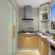 家居小型厨房原木色橱柜