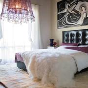 温暖舒适卧室紫色吊灯