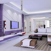 客厅紫色海藻泥墙面