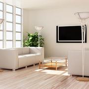 简约风格白色皮制沙发装饰