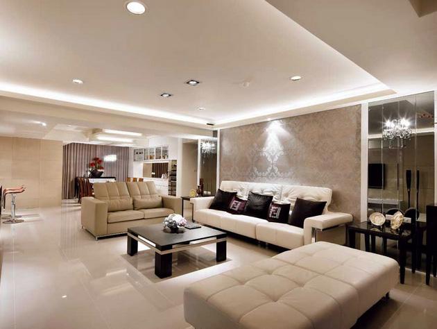 现代简约风格复式楼客厅皮制沙发装修效果图