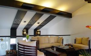 三居室自然风格斜顶阁楼装修效果图大全