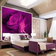 卧室床头紫色玫瑰
