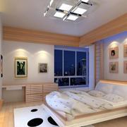 简约风格卧室原木背景墙装饰