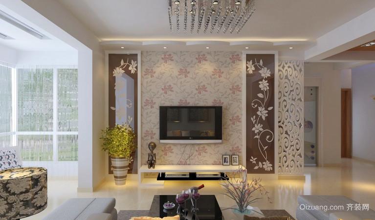 别墅时尚风格电视背景墙效果图